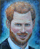 PRINCE HARRY new oil painting 8x10 canvas original signed art by Crowell