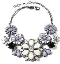 NWT Amrita Singh Jardin De Fleur Lilac Moonstone Resin Bib Necklace NKC 8886