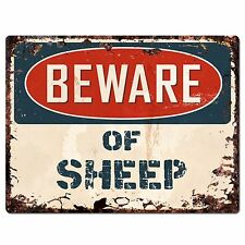 PP1334 Beware of SHEEP Plate Rustic Chic Sign Home Room Store Decor Gift