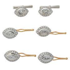 Mens 5.43 Carats Diamond Gold Platinum Shirt Studs Lapel Pin and Cufflink Set