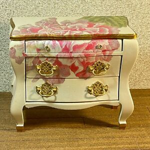 1:6 Dollhouse miniature chest of drawers pink flower decoupage - Barbie scale