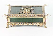 Jadeite Nephrite Tanzanite Signed Maldo A Royal Monogram Silver Jewelry Box
