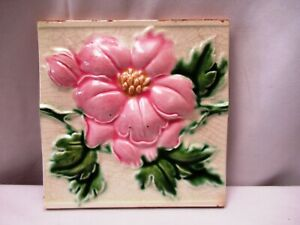 "Antique Art Nouveau Majolica Tile 19Th Embossed Rose Flower Design Pink Colo""513"