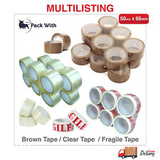 Buff Brown Clear Fragile Packaging Parcel Packing Tape Sellotape Strong 48mmx66m