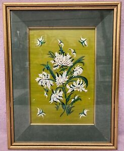 Signed oil painting.Heavy Impasto flowers in deep box frame Mid 20th century