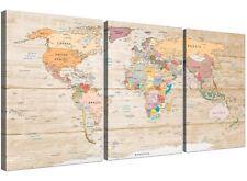 Lienzo Grande Mapa Del Mundo Art Print-Colorido Crema-Split 3 parte - 3314
