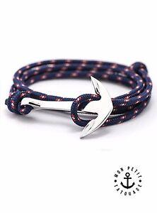 Bracelet Ancre Marine Argent Bleu mixte homme femme 2019 Marque encre cordon