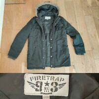 Boys FIRETRAP Black Padded Quilted Coat Jacket Age 12-13 Yrs Hooded Brill Cond