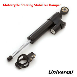 "Universal Motorcycle Safety CNC Aluminum Steering Stabilizer Damper 10"" Black"