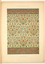 Stampa antica stile arabo MAIOLICHE con botanica 1885 Old Print Arabian Style