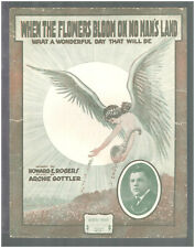 When The Flowers Bloom On No Man's Land 1918 WWI Vintage Sheet Music