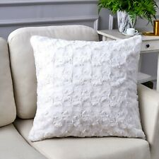 "DaDa Bedding Faux Fur Throw Pillow Cover Luxury White Roses Swirly 18"" x 18"" 1Pc"
