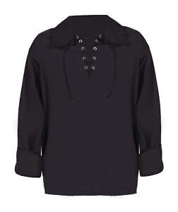 ADULTS BLACK LACE UP SHIRT LONG SLEEVE MEDIEVAL PIRATE TUDOR UNISEX FANCY DRESS