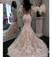 UK White Ivory Champagne Lace Long Sleeve Sheer Mermaid Wedding Dress Size 6-16