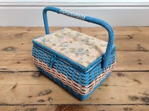 Vintage Wicker Sewing Basket With Handle,JAPAN,Floral Lid,Craft Carry Case,Retro