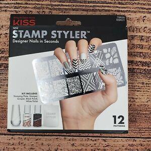 Kiss Stamp Styler Designer Nail Kit Black White Polish Chevron Salon Manicure