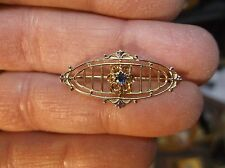 #5 of 8, PRETTY VTG ANTIQUE 10K YELLOW-WHITE-ROSE GOLD & BLUE GLASS BAR BROOCH