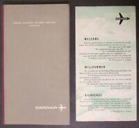 Rare 1953 SWISSAIR North Atlantic Tourist Service Westbound Hardcover Brochure +