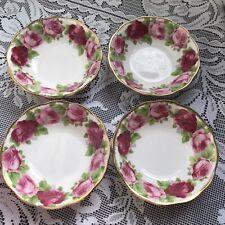 More details for rare royal albert 'old english rose' bowls desert / cereal bowls