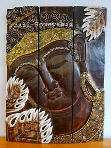 Balinese art Buddha wood carved wall art decor  60 CM