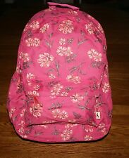 NWT Hollister by Abercrombie Classic Backpack Rose Pink with Floral Design
