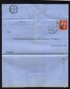 1876 Irish wrapper Penny Red perf Limerick 303 to Edinburgh via Carlisle