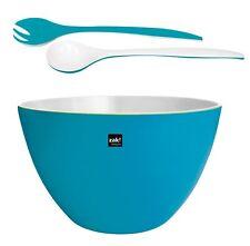 Zak design XXL Bol Duo Aqua bleu blanc en Set avec couverts pour salade mélamine