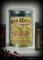 Prim Vintage Reproduction`Red Hen Cane Maple Syrup` Canister`Food Baltimore
