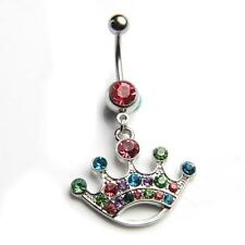 Ring Barbell Bar Button Crystal Crown Body Piercing Jewellery Navel Belly Dangle