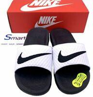 NEW SIZE 7-13 MEN Nike Benassi Solarsoft White Black Logo Slides Sandal Slippers