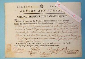 ♦ Guerre aux Tyrans Sans-Culottes Comité révolutionnaire LYON  Révolution 1793
