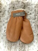 NEW Hestra Leather Lambskin Shearling Gloves Mittens Size 8 New Zealand Fur