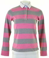 GANT Womens Polo Shirt Long Sleeve Size 6 XS Pink Striped Cotton  B014