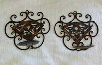 PAIR OF DISTRESSED CAST METAL WALL HANGING CANDLE SCONCE HOLDER DECORATIVE