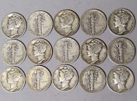 Set of World War II Mercury Silver Dimes 1941-1945 All 15 Coins F-VF Condition