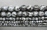 Natural Snow Flack Obsidian Gemstone Round Beads 3mm 6mm 8mm 10mm 12mm 15.5''