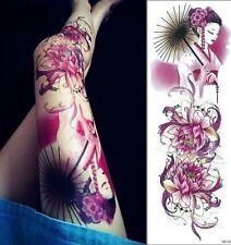 Chinese Women Flowers Tattoo Temporary Stickers Body Art 3D Tatoo Waterproof UK
