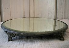 Antique Beaded Silverplate Footed Dresser Mirror ~ Farmhouse Chic Beveled Glass