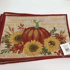 """Autumn Fall Pumpkin Sunflower floral arrangement Tapestry Place Mat 13"""" x 19"""""""