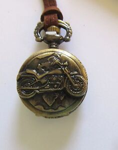 Pocket Watch Necklace- Round  Motorcycle  brown cord great detail