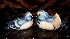 Vintage Pair Male Female Porcelain HP BLUE MANDARIN DUCK Figurines ETHAN ALLEN!
