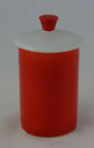 """Holt Howard Condiment Jar Orange and White, 4 1/4"""" tall"""