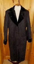 CLAIRE.DK charcoal grey black faux suede fur floral calf long winter coat 12 40