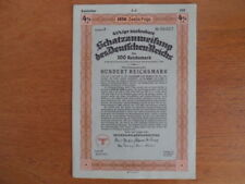 1936 Nazi German Treasury Bond-100 Reichsmark Bond-Swastika Seal