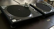 2-Custom STEALTH BLACK Technics 1200 MK2 turntable w/recessed dicer & blue LEDs