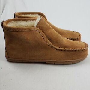 Lands End Mens Suede Leather Shearling Bootie Slippers Brown