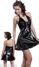 Gothic Black Neckholder Kunstleder Kleid mit glanz Effekt Größe ca 38 bis 42