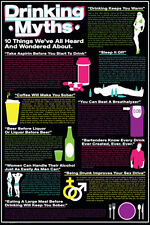 DRINKING MYTHS - FUNNY POSTER - 24x36 SHRINK WRAPPED COLLEGE DORM BAR 241166