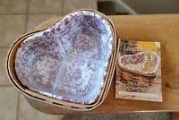 Cute Longaberger 2000 Little Love Purple Sweetheart Heart Basket Combo Liner