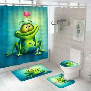 Frog Shower Curtain Sets with Non-Slip Rug,Toilet Lid Cover,Bath Mat